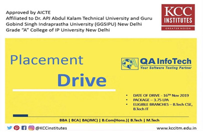 Campus Placement Drive of QA Infotech