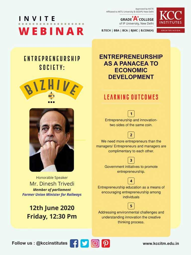 Join Shri Dinesh Trivedi, Member of Parliament and Former Union Minister for Railways for the Webinar