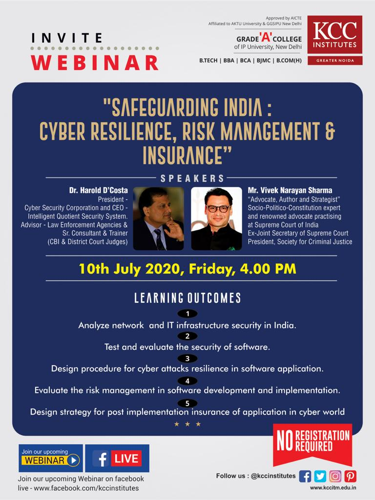 "Join Dr. Harold D'Costa and Mr. Vivek Narayan Sharma for the Webinar on ""Safeguarding India: Cyber Resilience, Risk Management & Insurance"""