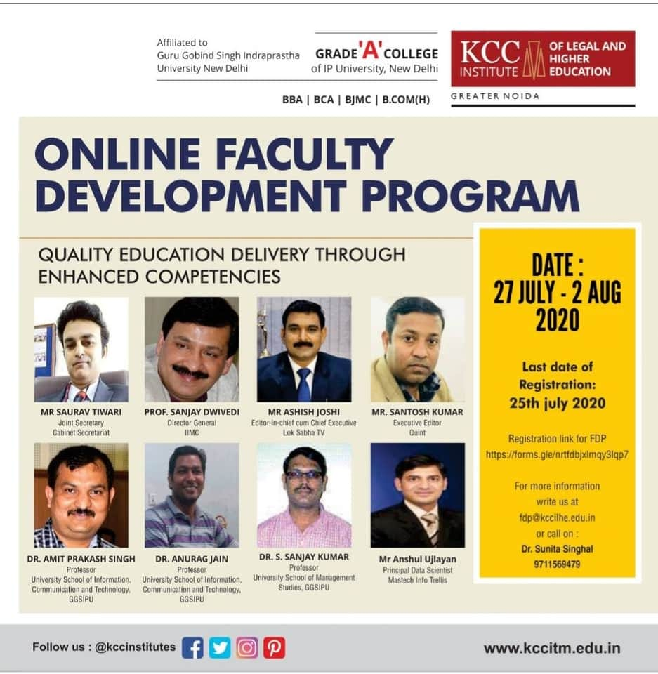 Online Faculty Development Programme organised by KCC Institute of Legal and Higher Education, Delhi-NCR, Greater Noida.