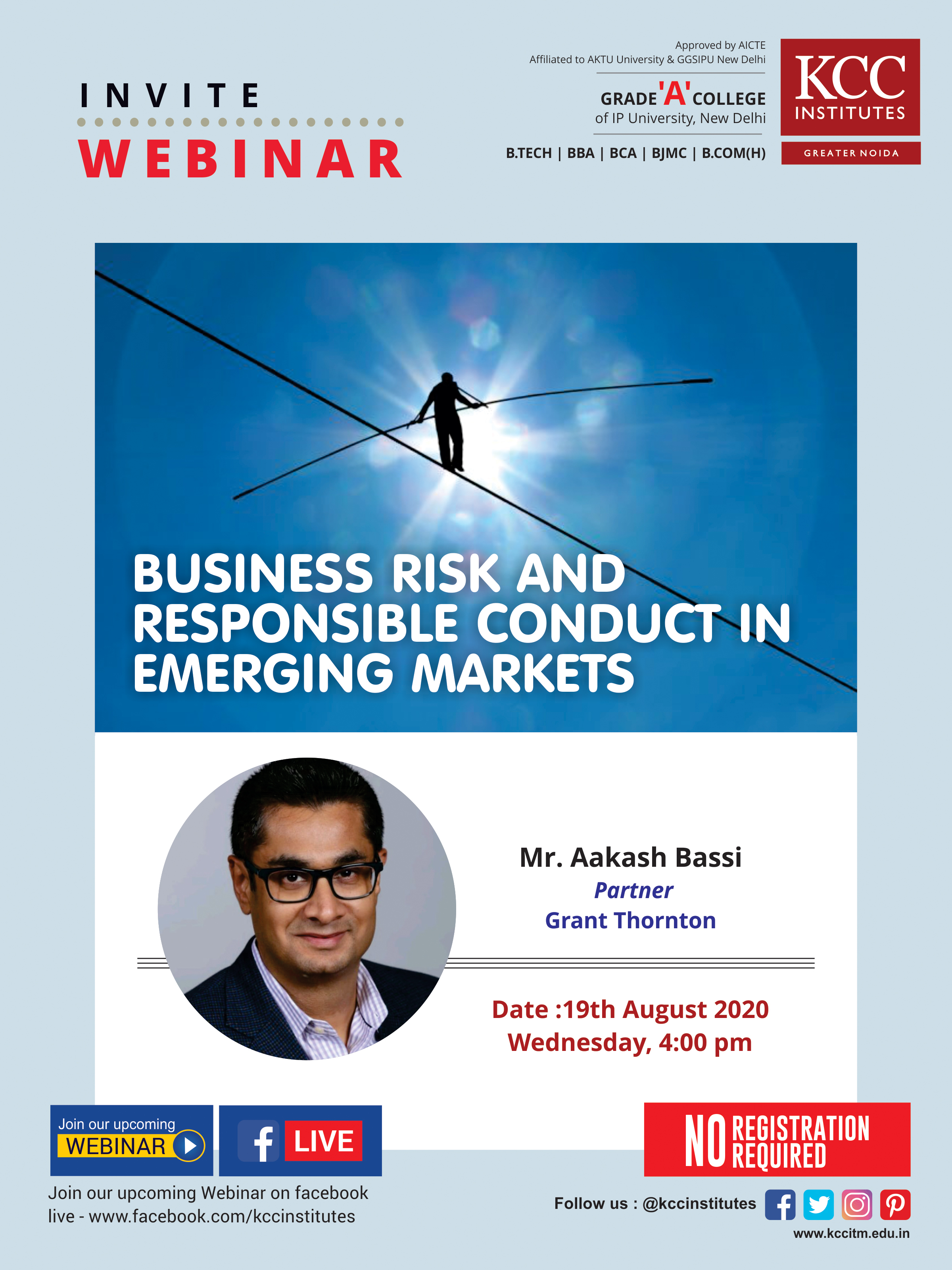 "Join Mr. Aakash Bassi, Partner, Grant Thornton for the Webinar on ""Business Risk and Responsible Conduct in Emerging Markets"""