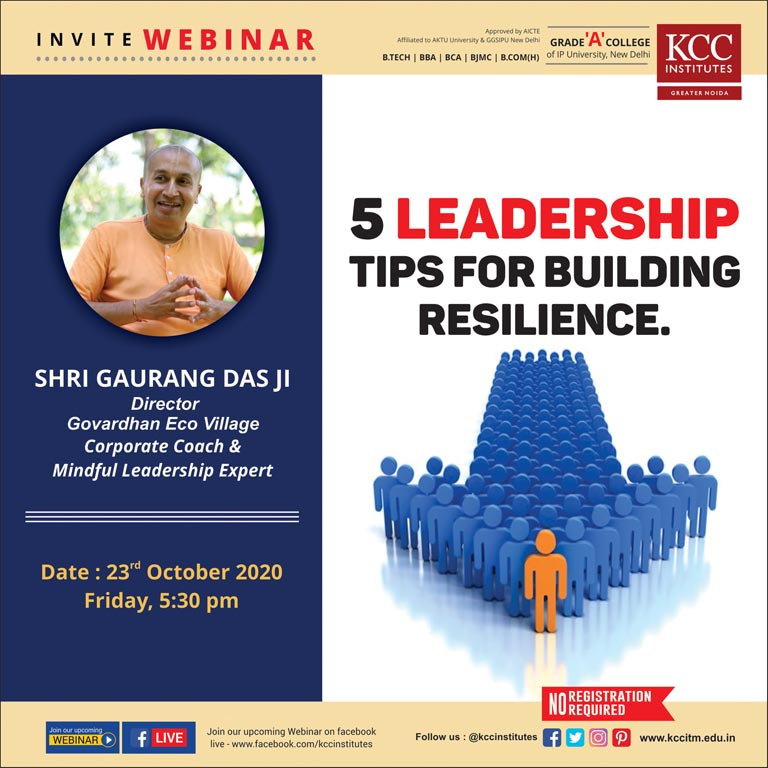 Join Shri Gauranga Das Ji, Director, Govardhan Ecovillage, Corporate Coach & Mindful Leadership Expert for the Webinar on 5 Leadership tips for building resilience