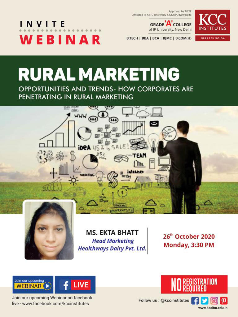 "Join Ms. Ekta Bhatt, Head Marketing, Healthways Dairy pvt. Limited for the Webinar on ""Rural Marketing, Opportunities and Trends - How Corporates are Penetrating in Rural Marketing"""