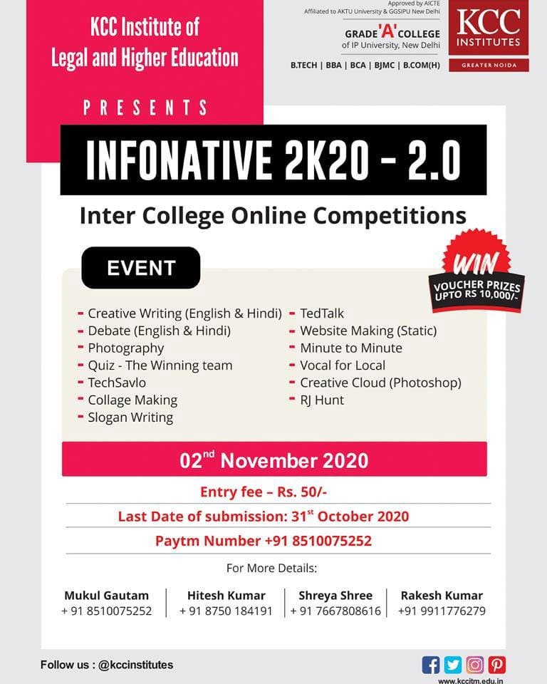 """INFONATIVE 2K20 – 2.0""  Inter College Online Competition 2020"