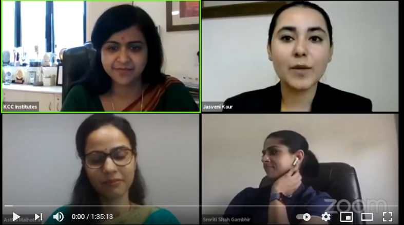 Ms. Smriti Shah Gambhir, Clinical Psychologist live for Webinar Organized by KCC Institutes,Gr Noida